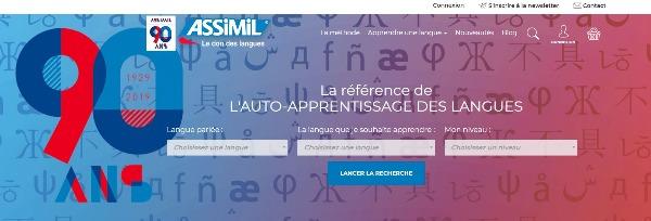 capture écran du nouveau site Assimil.com