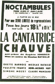 Affiche de La cantatrice Chauve (Eugène Ionesco) aux Noctambules