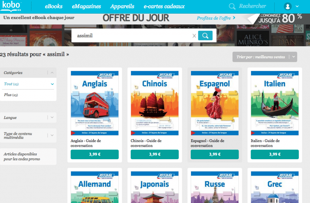 Guides Assimil chez Kobo