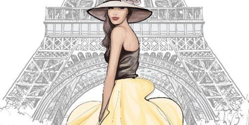 Femme apprêtée devant la tour Eiffel